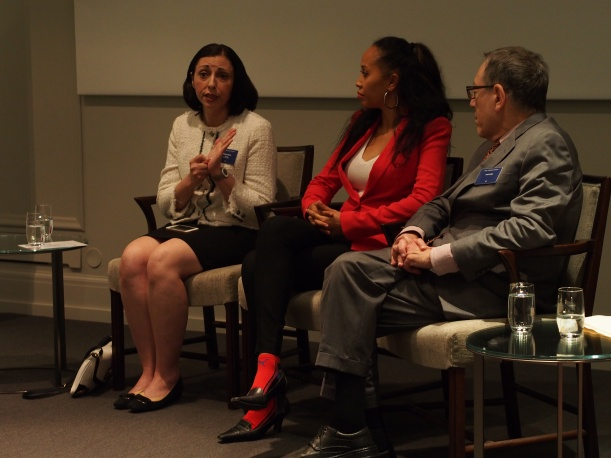 From left to right: Marina Nemat, Kimberley Motley, and Irwin Cotler. Panel discussion on Women and the Law at the 2016 Oslo Freedom Forum. © Adriana Citlali Ramírez 2016